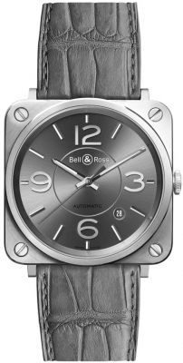 Bell & Ross Aviation  Officer Ruthenium Dial Men's Watch BRS92-RU-ST/SCR