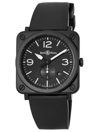 Bell & Ross Aviation  BR S Black Matte Ceramic Rubber Strap Men's Watch BRS-BL-CEM/SRB
