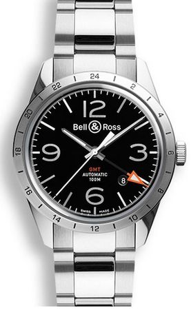 Bell & Ross Vintage  BR 123 GMT 24H Steel Men's Watch BRV123-BL-GMT/SST