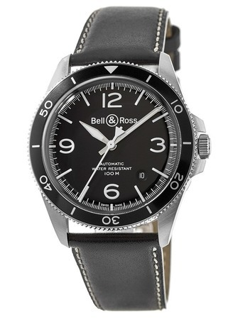 Bell & Ross BR V2-92 Black Steel Black Dial Black Leather Men's Watch BRV292-BL-ST/SCA