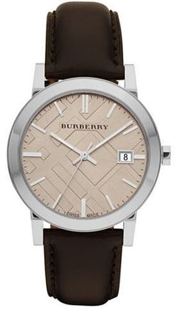 Burberry   Fawn Dial Smooth Brown Leather Unisex Watch BU9011