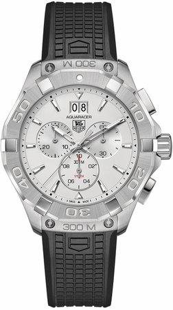 91f923bab81 Tag Heuer Aquaracer 300M Chronograph Silver Dial Black Rubber Men s Watch  CAY1111.FT6041