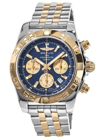 Breitling Chronomat 44 Steel and Gold Blue Dial Men's Watch CB011012/C790-375C