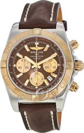 Breitling Chronomat 44 Brown Dial Brown Leather Men's Watch CB011012/Q576-LST