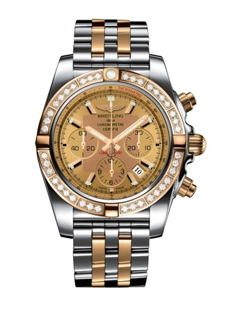 Breitling Chronomat  Golden Sun Diamond Dial Steel And Rose Gold Pilot Strap Men's Watch CB011053/H548-375C