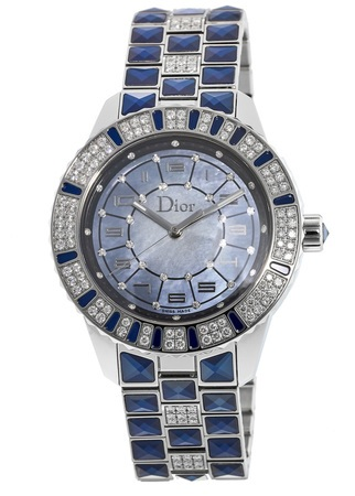 Dior Christal 38mm Blue Mother Of Pearl Diamond Women's Watch CD114510M001