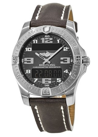 Breitling Professional Aerospace Evo Black Dial Brown Leather Men's Watch E7936310/BC27-437X