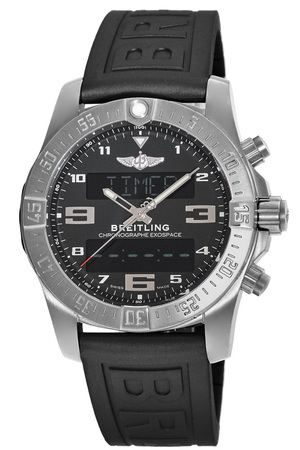 Breitling Exospace B55 Volcano Black Dial Titanium Case Rubber Strap Men's Watch EB5510H1/BE79-154S