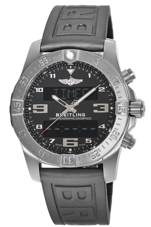 Breitling Exospace B55 Volcano Black Dial Titanium Case Rubber Strap Men's Watch EB5510H1/BE79-245S