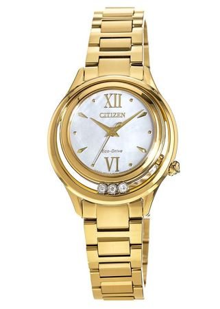 Citizen Sunrise  Gold Tone Stainless Steel Mother of Pearl Dial Women's Watch EM0512-58D