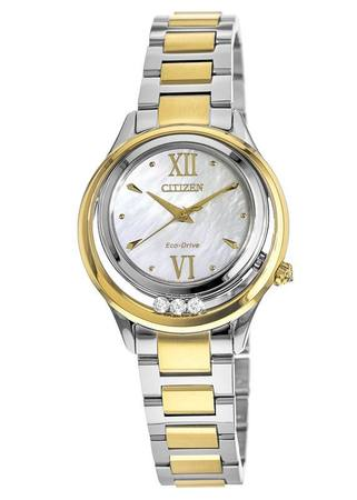 Citizen Sunrise  Two Tone Stainless Steel Mother of Pearl Dial Women's Watch EM0514-52D
