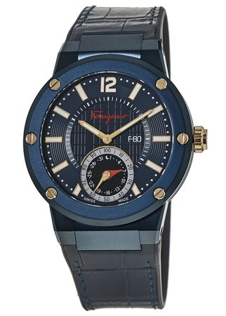 Salvatore Ferragamo F-80  Smart Blue Leather Strap Men's Watch FAZ010016