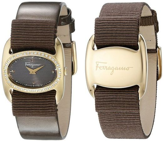 Salvatore Ferragamo Varina  Gold Tone Brown Dial Brown Leather & Grosgrain Strap Women's Watch FIE050015