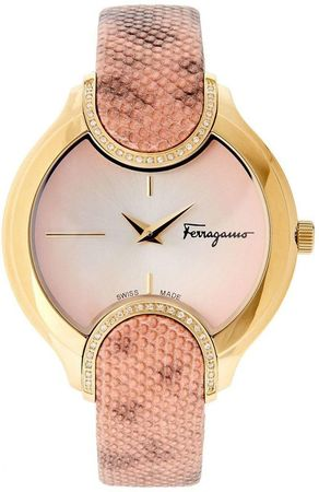 Salvatore Ferragamo Signature  Pink Dial Diamond Women's Watch FIZ050015