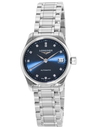 Longines Master Collection Automatic 25.5mm Diamond Accent Blue Dial Women's Watch L2.128.4.97.6
