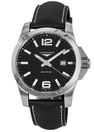 Longines Conquest Quartz Black Dial Black Leather Men's Watch L3.760.4.56.3