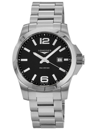Longines Conquest Quartz Black Dial Steel Men's Watch L3.760.4.56.6