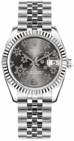 Rolex Datejust 31  Dark Rhodium Raised Floral Motif Women's Watch M178274-0092