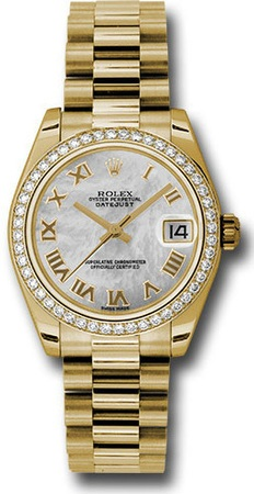 Rolex Datejust 31  Mother Of Pearl dial, 18k Gold President Bracelet Women's Watch M178288-0025