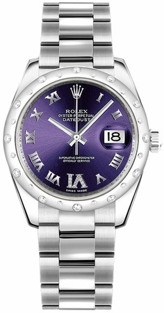 Rolex Datejust 31  Purple Dial Diamond VI Women's Watch M178344-0016