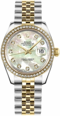 Rolex Datejust 31  Mother of Pearl Dial Diamond Bezel Women's Watch M178383-0008