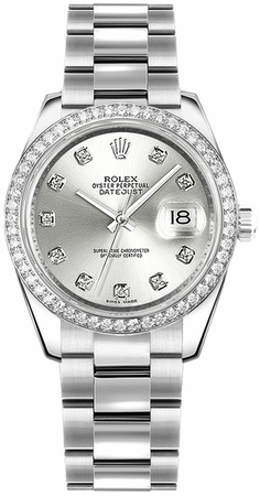 Rolex Datejust 31  Silver Diamond Dial Women's Watch M178384-0017