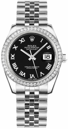 Rolex Datejust 31  Black Diamond Dial Women's Watch M178384-0039