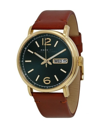 Marc By Marc Jacobs   Fergus Green Dial Brown Leather Men's Watch MBM5077