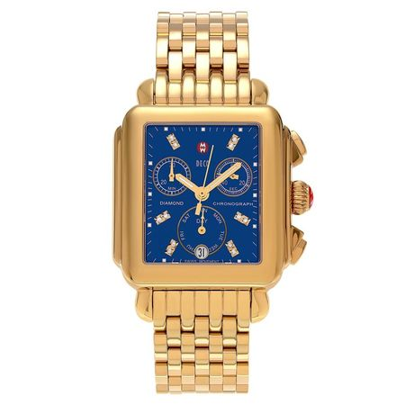 Michele Deco  Blue Mother of Pearl Gold Plated Women's Watch MWW06P000221