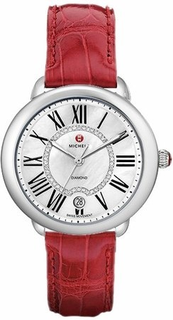 Michele Serein Mid Diamond Dial Garnet Red Leather Women's Watch MWW21B000023