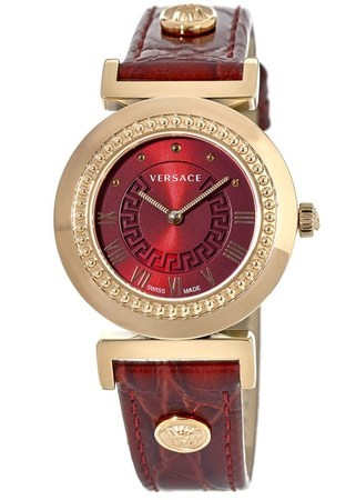 Versace Vanity  Rose Gold Plated Red Dial Leather Strap Women's Watch P5Q80D800S800