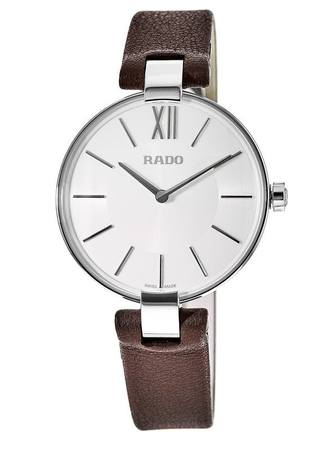 Rado Coupole M Quartz Silver Dial Brown leather Strap Women's Watch R22850015