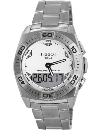 Tissot T-Touch  White Digital & Analog Dial Steel Men's Watch T002.520.11.031.00-PO