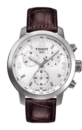 Tissot PRC 200  Chronograph Silver Dial Leather Strap Men's Watch T055.417.16.017.01-SD