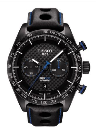 Tissot PRS 516  Automatic Black Chronograph Leather Strap Men's Watch T100.427.36.201.00