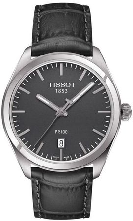 Tissot T-Classic  Grey Dial Grey Leather Men's Watch T101.410.16.441.00