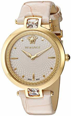 Versace Olympo  Crystal Gleam White Dial Leather Strap Women's Watch VAN050016