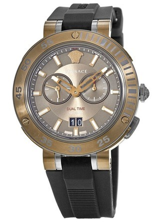 Versace V-Extreme  Brown Chronograph Dial Rubber Strap Men's Watch VCN030017
