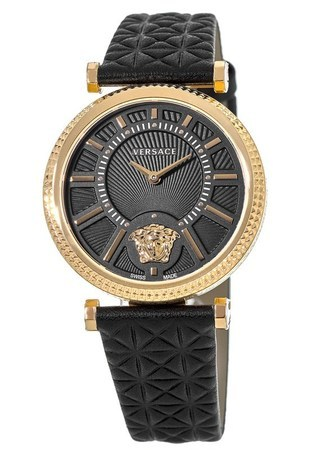 Versace V-Helix  Black Dial Rose Gold-Tone Leather Strap Women's Watch VQG040015