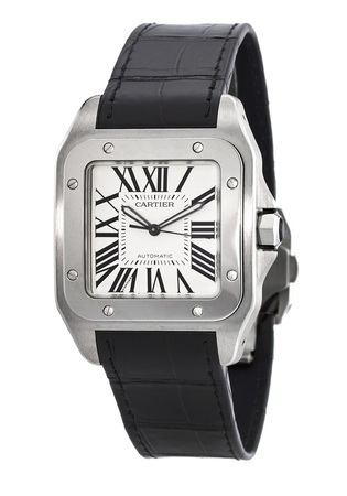 Cartier Santos 100 Automatic Silver Dial Leather Strap Men's Watch W20073X8