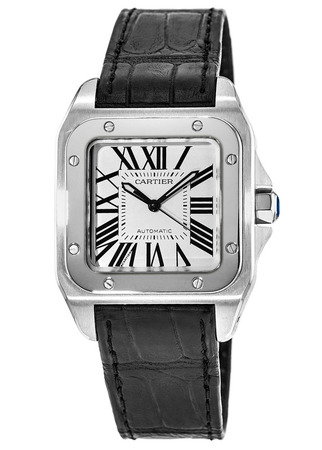 Cartier Santos 100 Automatic Midsize Silver Dial Black Leather Strap Unisex Watch W20106X8