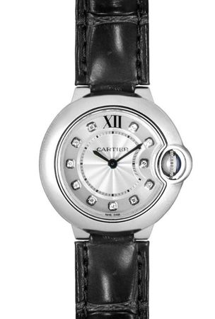 Cartier Ballon Bleu 28mm Diamond Dial Leather Women's Watch W4BB0008