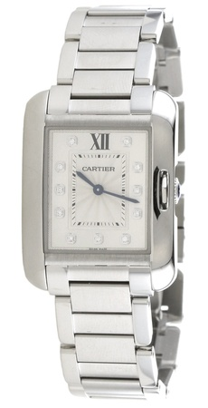Cartier Tank Anglaise Steel Diamond Dial Women's Watch W4TA0004