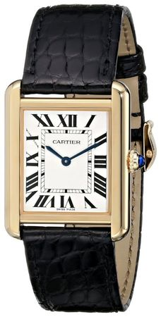 Cartier Tank Solo 18kt Yellow Gold Leather Strap Unisex Watch W5200004