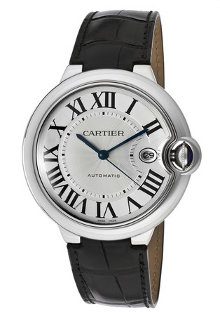 Cartier Ballon Bleu 42mm Automatic Leather Strap Men's Watch W69016Z4