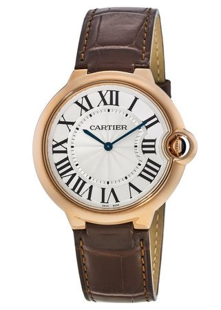 Cartier Ballon Bleu 40mm 18kt Rose Gold Brown Leather Strap Men's Watch W6920083