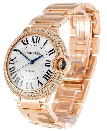 Cartier Ballon Bleu 36mm 18K Rose Gold Diamond Women's Watch WE9005Z3