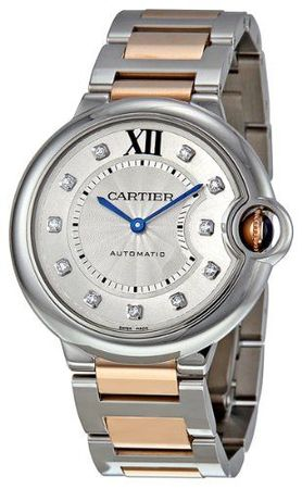 Cartier Ballon Bleu 36mm Steel & 18kt Rose Gold Diamond Dial Women's Watch WE902031