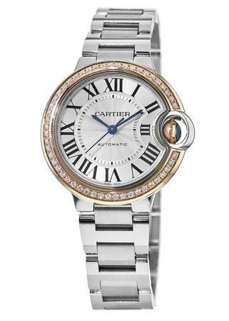 Cartier Ballon Bleu 33mm 18kt Rose Gold & Steel Diamond Bezel Women's Watch WE902080