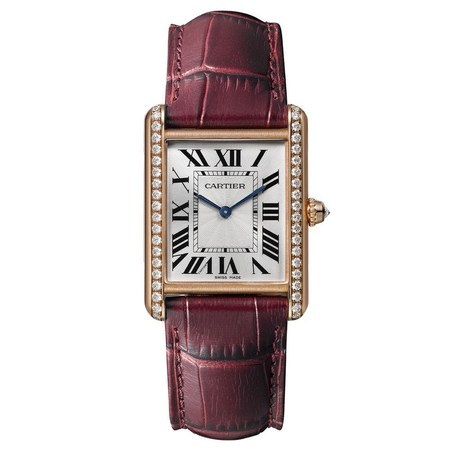 Cartier Tank Louis Large Diamond Pink Gold Burgundy Leather Women's Watch WJTA0014